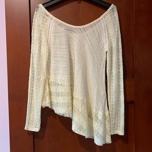 Free People Asymmetrical White Sweater